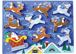 Santa's Sleigh Christmas Chunky / Peg Puzzle
