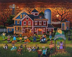 Scarecrow Festival Folk Art Jigsaw Puzzle