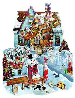 Christmas At Our House Snowman Shaped Puzzle