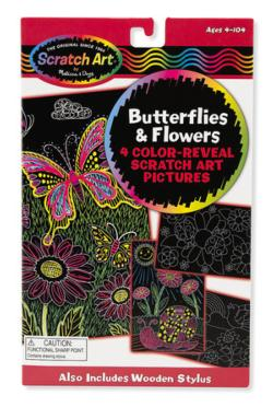 Butterflies & Flowers Color-Reveal Pictures