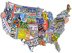 License Plates USA United States Shaped Puzzle
