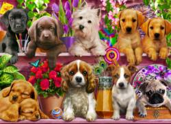 Puppies Galore Flowers Jigsaw Puzzle