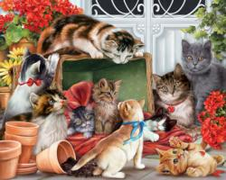 Garden Cats Garden Jigsaw Puzzle
