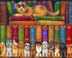 Dog Bookshelf Movies / Books / TV Jigsaw Puzzle