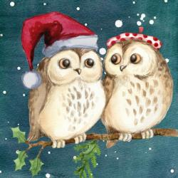 Who Who Who - Christmas Owls Fine Art
