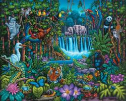 Wild Jungle Folk Art Jigsaw Puzzle