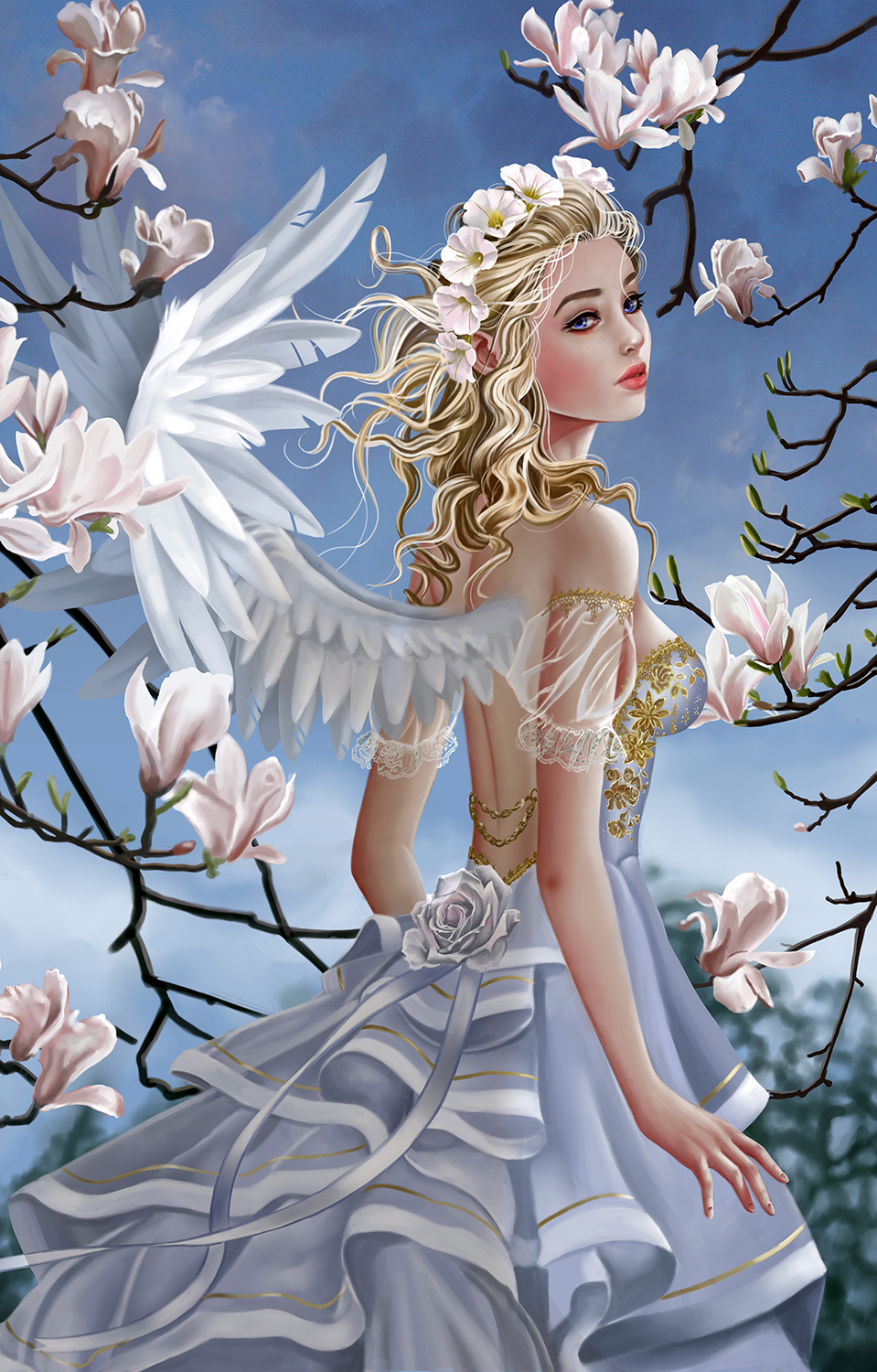 Angel and Magnolias 1000