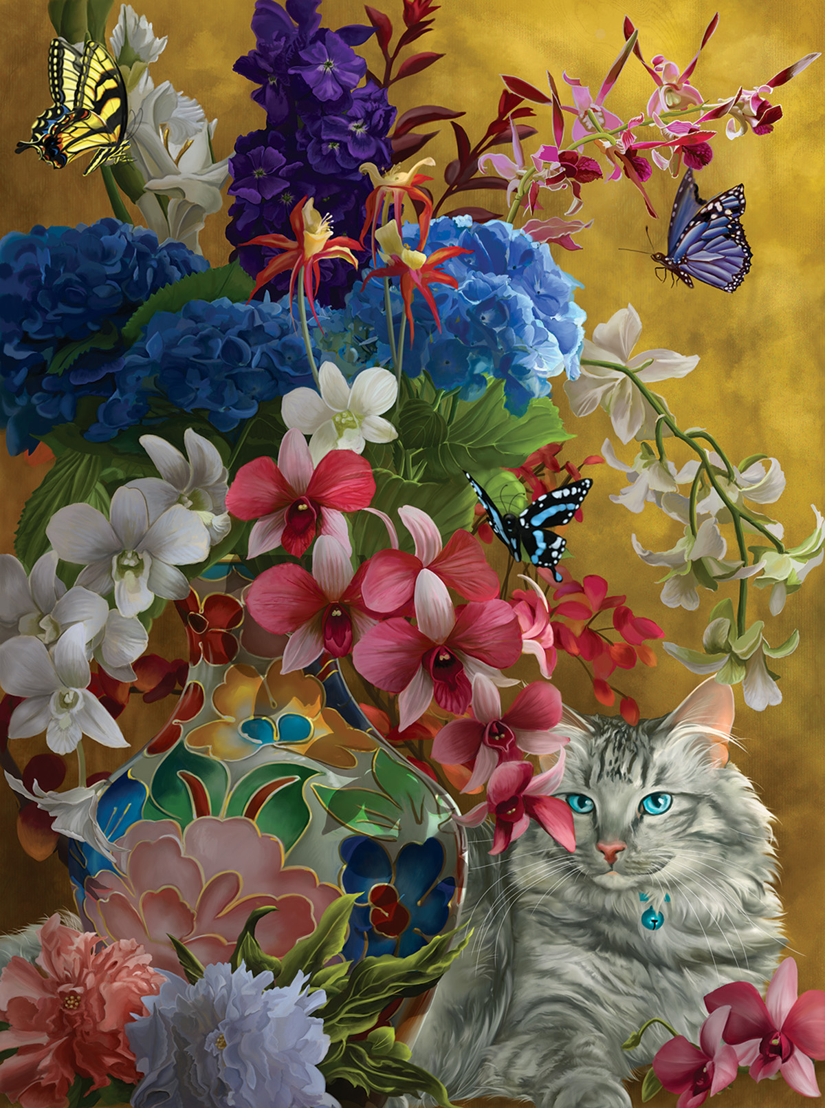 Gilded Cats and Flowers 1000