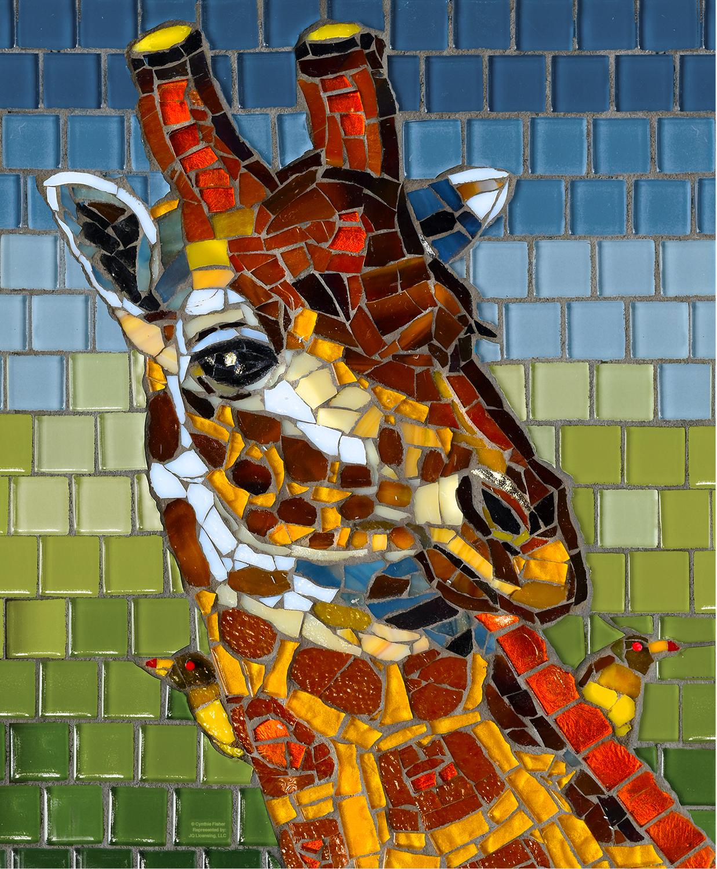 Stained Glass Giraffe 1000